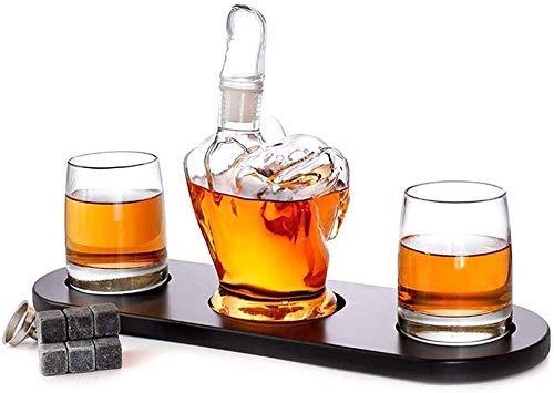ROSG Decantador de Whisky de Cristal Creativo Juego de Vasos y jarras de Whisky de 1000 ml con 2 Piezas de Vasos de Whisky con Piedras de Whisky y Embudo de Acero Inoxidable, Regalo sin plom