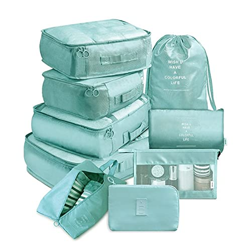 Wardrobe Storage Organiser 9 Pieces Set Travel Organizer Storage Bags Suitcase Packing Set Storage Cases Portable Luggage Organizer Clothes Shoe Tidy Pouch (Color : Sky Blue)