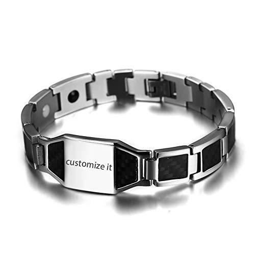 JewelryWe Schmuck Herren Magnetarmband mit Gravur, Edelstahl schwarz Kohlenstoff Faser Kohlefaser Magnet Armband Armreif Armkette, Silber