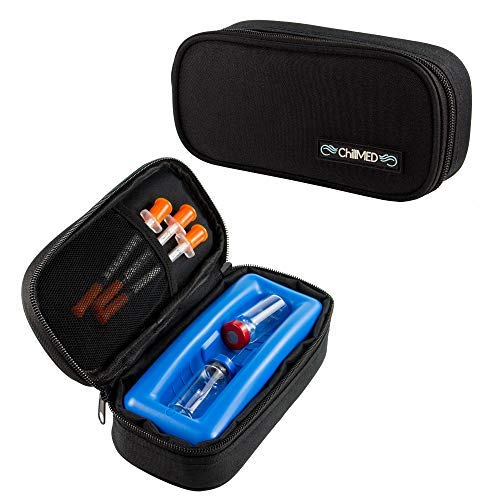 ChillMED Micro Cooler Bag - Diabetic Insulin Vial Carrying Case Travel Pack with Re-Freezable Ice Pack - Up to 12 Hours of Cool Time | for Insulin and Other Medication (Black)