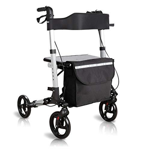 BMOT rollator faltbar und leicht Gehwagen mit Sicherheitsreflektoren abnehmbare Einkaufstasche Leichtgewichtsrollator mit bis sitz 130kg