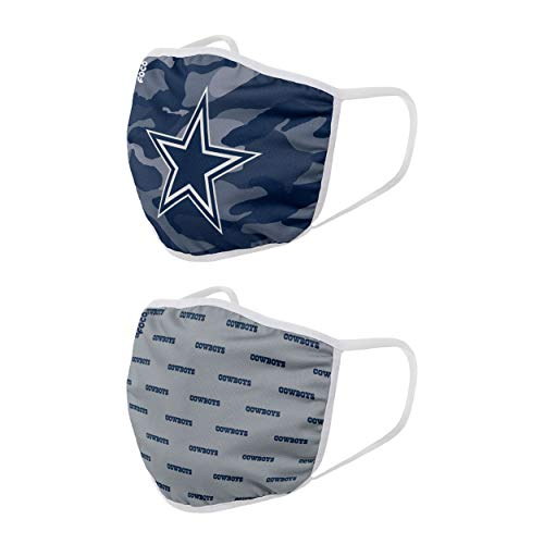 NFL Dallas Cowboys Unisex FOCO Face Mask 2 PK, Multi-color, OSFA