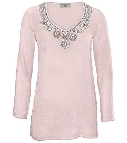 RICK CARDONA Tunika Bluse angesagte Damen Stickerei-Tunika mit Seitenschlitzen Frühlings-Tunika Langarm-Bluse Rosa, Größe:38
