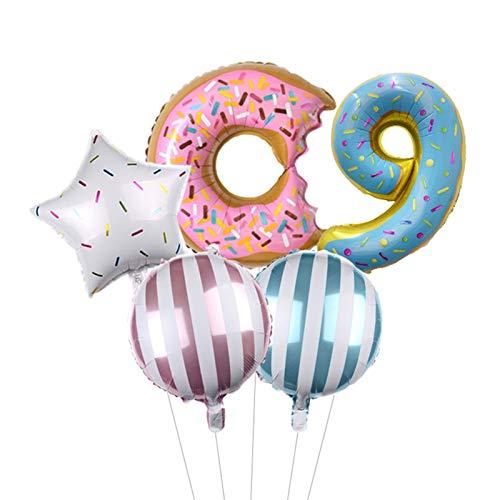 JSJJATQ Globos 32 Pulgadas de donas Número de Papel Arco Iris Figura Globo Unicornio Set de la Fiesta de cumpleaños para niños Decoraciones para niños Ducha de bebé (Color : Donut Set 9)