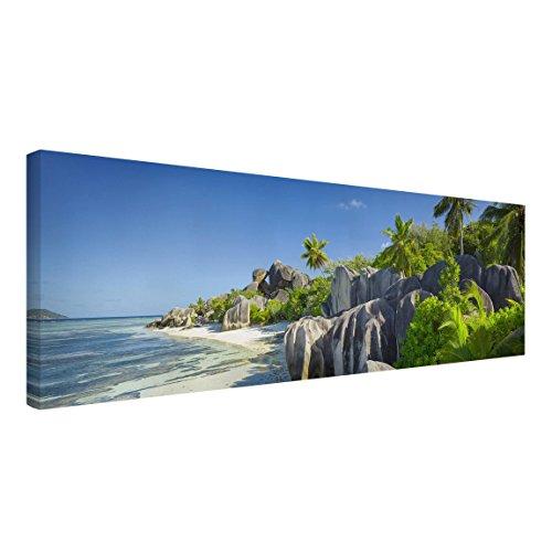 Bilderwelten Leinwandbild - Traumstrand Seychellen - Panorama Quer, 30cm x 90cm