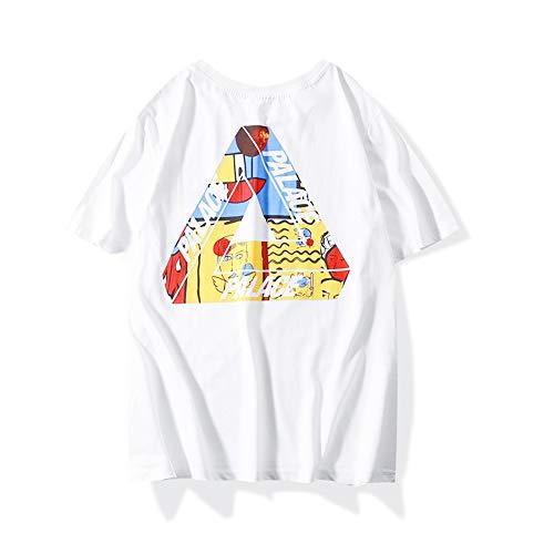 XCBW Gezeitenmarke Männer und Frauen Dreieck-Buchstaben-Graffiti-T-Shirt Sommer Paare Rundhals Skateboards Baumwolle Kurzarm,Weiß,XXL