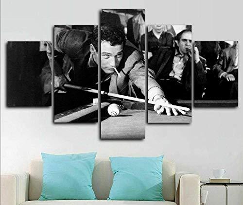 Impresión Lienzo Pintura,Canvas Prints Cuadro Sobre Lienzo 5 Piezas,Cuadro Moderno 5 Piezas Impresiones Arte Pared Decor Pared Arte Pintura Para Hogar Salón Oficina Piscina Hustler Paul Newman