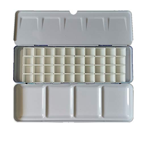 BOOYEE Empty Watercolor Palette Paint Tin Case with Half Pans Carrying Magnetic Stripe (Starry with 40pcs Half Pans)