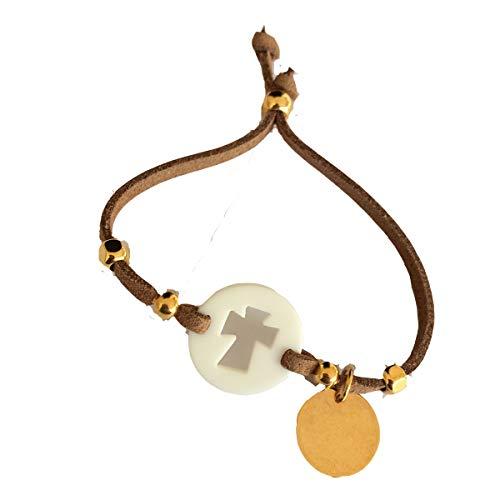 Lote 10 pulseras antelina con cruz para comunion/bautizo, PERSONALIZADA con texto que quieras (Camel, Grande)