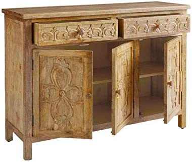 Shilpi Handicraft Solid Wood Cabinet for Living Room in Traditional Hand Carving Home Decor Sideboard