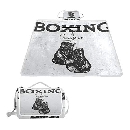 XINGAKA Couverture de Pique-Nique,Seal Vintage Old Label Boxing Urban Gloves Effect Sports Recreation Drawing Boxer Hand Retro Fight,Tapis Idéale pour Plage Jardin Parc Camping