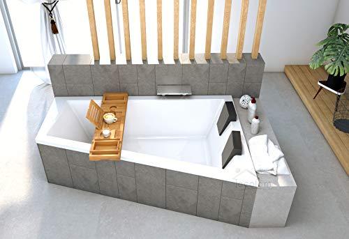 ECOLAM Badewanne Trapez Intima Duo Eckwanne für Zwei 170x125 cm RECHTS + Styroporverkleidung 1.041 zum Verfliesen + Ablage Bambus + 2x Kopfstütze Ablauf Automatik Füße Silikon