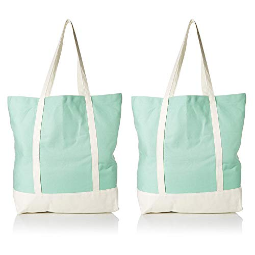 Ezprogear Canvas Cotton Tote Bag 20 Inch W x 17 Inch H x 6 Inch D (2 Pack Green/White)