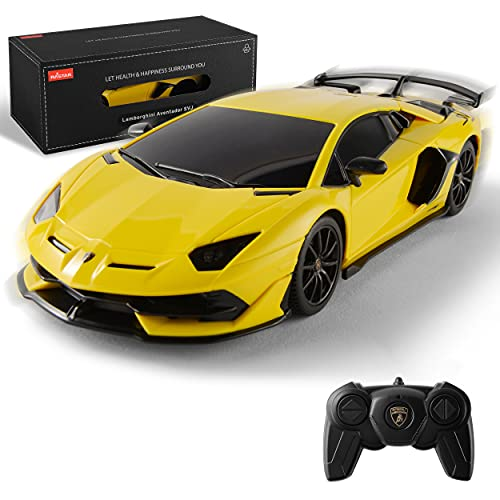 BEZGAR X RASTAR Licensed RC Series, 1:24 Scale Remote Control Car Lambo Aven SVJ Electric Sport Racing Hobby Toy Car Model Vehicle for Boys and Girls Teens and Adults Gift (Yellow)