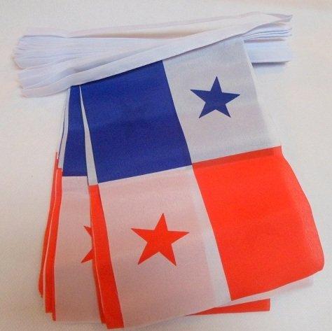 AZ FLAG Guirnalda 6 Metros 20 Banderas de PANAMÁ 21x15cm - Bandera PANAMEÑA 15 x 21 cm - BANDERINES