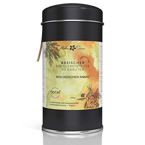 Aloha Sana® | Basentee Bio aus 49 Kräutern (lose) | 100g Kräutertee in luftdichter Aromadose | Energetisch getestete Teemischung | Brennnessel, Brombeerblätter, Fenchel, Salbei und viele mehr