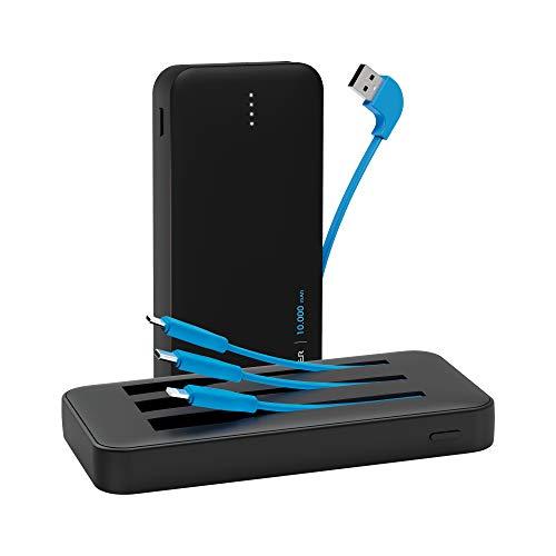 Xlayer All-in-One Powerbank 10000mAh mit 18W Fast Charge Technologie, Externer Akku Ladegerät für Smartphone und Tablet, inklusive Micro USB Kabel, USB C Ladekabel und Lightning Kabel, Schwarz