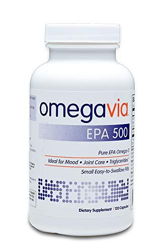 OmegaVia EPA 500 Omega-3 Fish Oil, 120 Capsules, 500 mg EPA/Pill, High-Purity EPA Formula (Triglyceride Form), IFOS 5-Star Certified, w/Fish Gelatin Capsule, Gluten-Free, Non-GMO