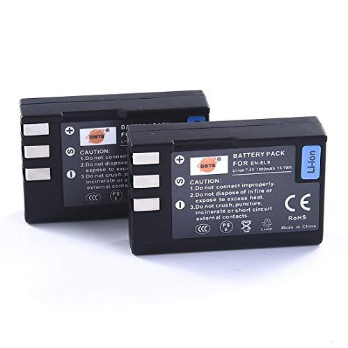 DSTE Replacement for 2 Pack EN-EL9 EN EL9 Li-ion Battery Compatible Nikon D40 D40X D60 D3000 D5000 Digital Camera as ENEL9 EN-EL9A