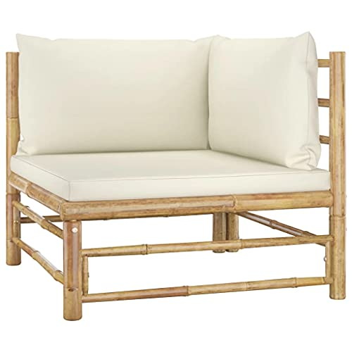 vidaXL Sofá de Esquina para Jardín con Cojines Asiento Silla Sala de Estar Salón Terraza Patio Exterior Balcón Estable Bambú Blanco Crema