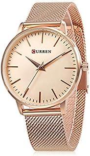 Curren 9021 Quartz Movement Round Dial Stainless Steel Strap Waterproof Women Wristwatch -Rose Gold