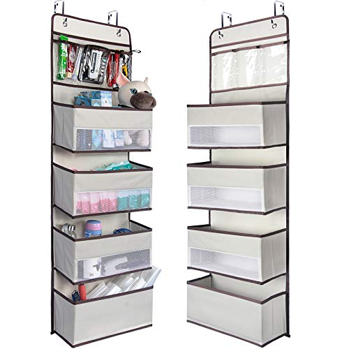 NesTidy Over The Door Organizer Storage, Wall Mount Hanging Organizer with 4 Large Capacity Pocket Organizers and 3 Small Pockets for Baby Essentials, Toys, Cosmetics, and Sundries (Beige, 1 Pack)