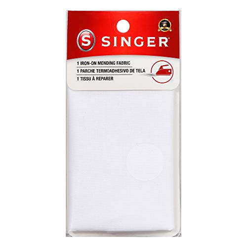 SINGER 00097 Iron-On Mending Fabric, Fabric Patch For Mending ClothesWhite