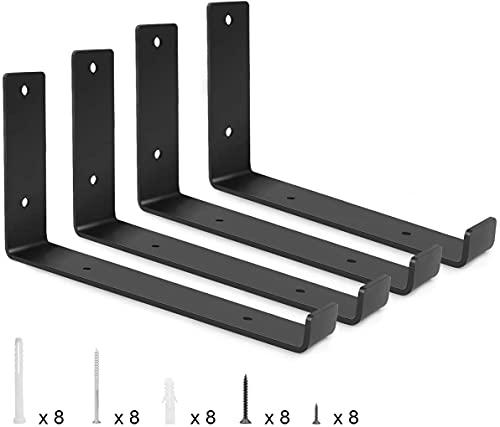Soporte de estantería de pared de 300 mm, plegable, resistente, soporte flotante para estantería, capacidad de carga máxima de 60 kg, acero inoxidable, color negro mate, 4 unidades (12 pulgadas)