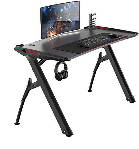 sogesfurniture Mesa de Juegos para computadora, Ergonomic Gaming Desk (Amplia Superficie de Juego, Luces Leds en los Laterales, Patas de Acero Resistentes, Estructura en R), Negro BHEU-ST-R3-BK