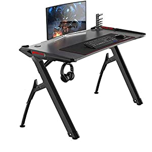 soges 120 * 60 Gaming Desk Computer Computer Computadora Gamer Pro Tablas con Luces LED Ergonómica PC Desk con Mouse…