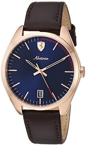 Scuderia Ferrari Unisex Analog Quarz Uhr mit Leder Armband 830500