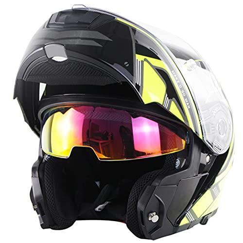 Casco de motocicleta modular abatible de cara completa, casco de motocross de moto de doble visor antiniebla para adultos, hombres y mujeres, Casco de protección aprobado ECE,1,L