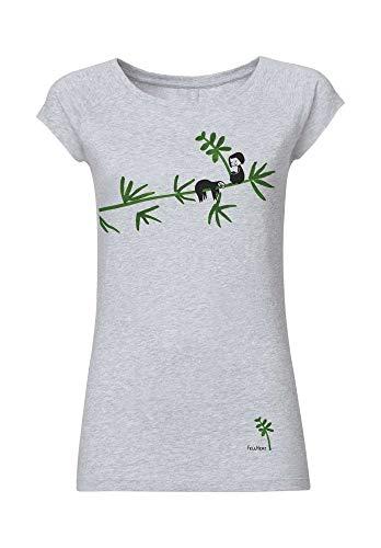 FellHerz Damen T-Shirt Faultier Hellgrau Meliert Bio Fair, Größe:M