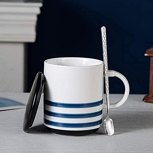 UNO HOME Ceramic Coffee Mug for Gift, Japanese Minimalist Style Tea Cup with Lid & Spoon for Office and Home, 12 Oz, Holiday Christmas Hanukkah Gift for Men & Women Who Love Tea Mugs & Coffee Cups