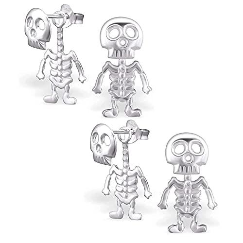 Pendientes de calavera estilo punk – Pendientes de esqueleto, pendientes de calavera de Halloween, pendientes de hip hop, pendientes de esqueleto, pendientes de acero inoxidable góticos (2 unidades)