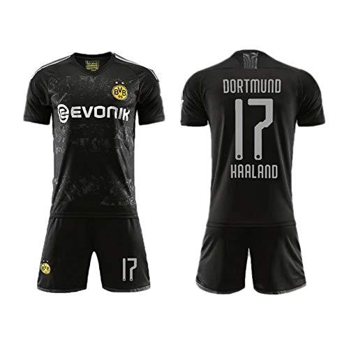 PAOFU 2019-2020 Borussia Dortmund Erling Braut Haaland # 17 Fan Football Trikotsets Für Männer Und Jungen,Schwarz,S