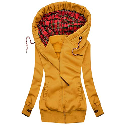 MoneRffi Damen Winter Jacke Parka Mantel Reißverschluss Sweatshirt Langarm Hoodie Mantel Casual Kapuzenpullover Warme Lange Winterjacke Patchwork Outwear(C#Gelb,M)