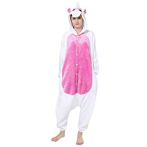 Petalum Unisex Adult Pyjama Jumpsuit Halloween Karneval Tierkostüm Damen Herren Fleece Skelett Overall Süß Onesie Schlafanzug Nachtwäsche (S, Rosarot Einhorn)
