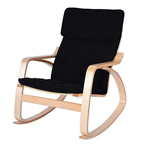 Sedia a dondolo reclinabile, comoda poltrona rilassante in legno di betulla, poltrona rilassante moderna per casa e ufficio Nero