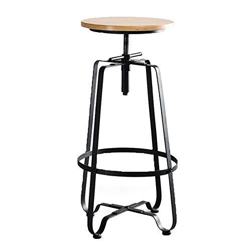 YNGJUEN Moderne Sessellift, Einfacher Skorpion Kiefer Schmiedeeisen Holzstuhl Bar Teeladen Café-Restaurant Home Freizeit Hocker