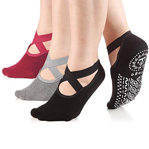 Yoga Socks for Women Non-Slip Grips & Straps, Ideal for Pilates, Pure Barre, Ballet, Dance, Barefoot Workout (3- pairs(Black&Grey&WineRed)) from