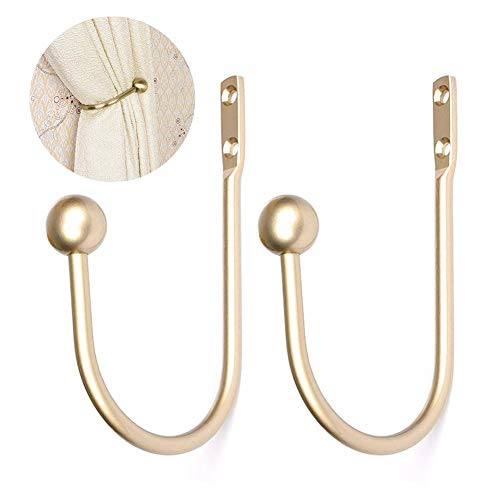 Vorhanghalter, 2 Stück, runde Vorhanghalter aus Metall, U-Form, europäisches Metall, Vorhanghaken für die Wandmontage Gold/Silber-Vorhanghalter für die Wandmontage