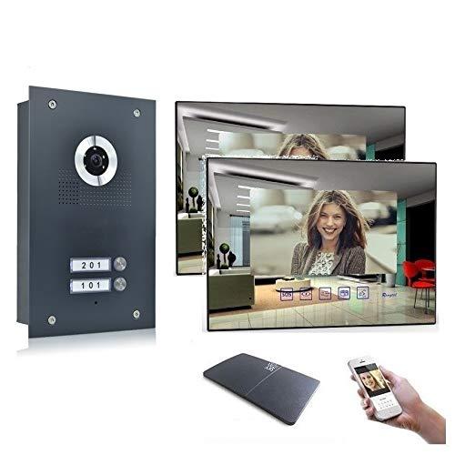 2 Familienhaus Video Türsprechanlage 7'' Monitor Kamera 170° Anthrazit, Farbe: Mit, Größe: 2x7'' Monitor Spiegel mit WLAN Außenstation Anthra