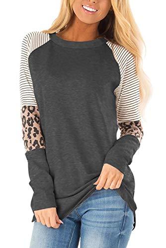 ANFTFH Koszule z długimi rękawami, bluzki w panterkę, bluzki w paski, koszule damskie Czarny Szary S