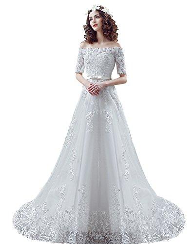 Brautkleider Hochzeitskleider Schulterfrei Ausschnitt Brautjungfer Weiß Brautkleider Abendkleider spitze Elfenbein Bandeau Hochzeitskleider Erweiterte Anpassung Traumhochzeit wedding dresses