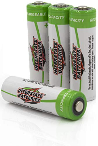 Interstate Batteries AA Rechargeable Batteries - High Capacity (2500 mAh NIMH AA Battery) Low Self Discharge -4 Pack - 1.2V (NIC1460)
