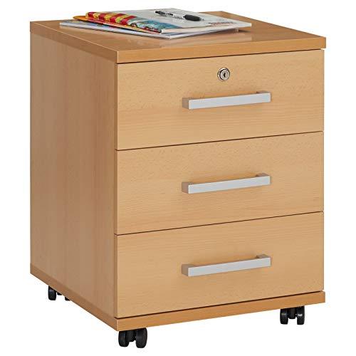 CARO-Möbel Rollcontainer Bürocontainer Büroschrank Vancouver, in buchefarben, abschließbar mit 3 Schubladen, 44 x 58 x 45 cm