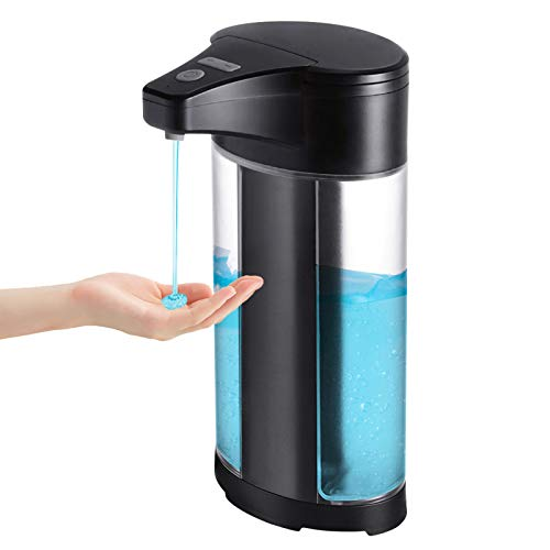 Beeasy Automatic Soap Dispenser 400ml Infrared Sensor Hand Free Electric Touchless Sanitizer Dispenser,Waterproof Refillable No Touch Auto Dispenser Support Wall Mounted and Kitchen,Black