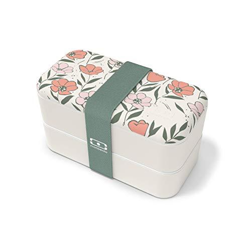 monbento - MB Original Graphic Bloom Fiambrera Lunch Box con Flores Made in France - Bento Box con 2 Compartimientos Herméticos - Fiambrera Trabajo/Escuela - sin BPA - Segura y Duradera