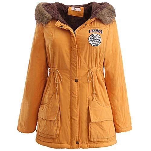 ELEAMO Damesjas met lange capuchon winterjassen verstelbare riem Ultra licht stijlvolle en duurzame damesski-jas groot formaat S-XXXL